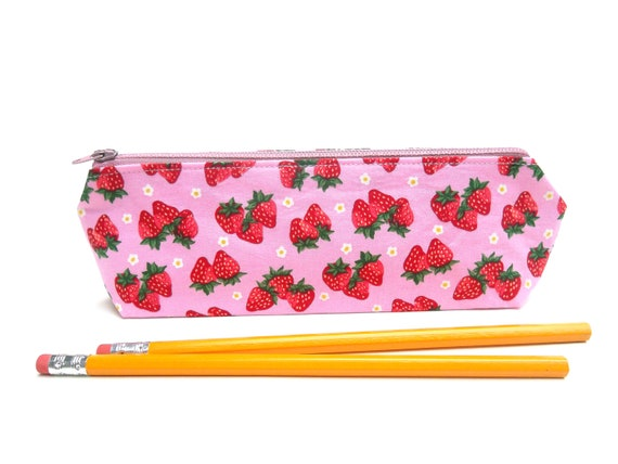 LAST ONE Pencil Pouch / Back to School / Zipper Pencil Bag in Strawberry Paradise on Pink