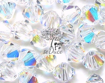 CLEARANCE Sale 60 Swarovski 5301 / 5328 6mm Crystal Clear AB Bicone Beads