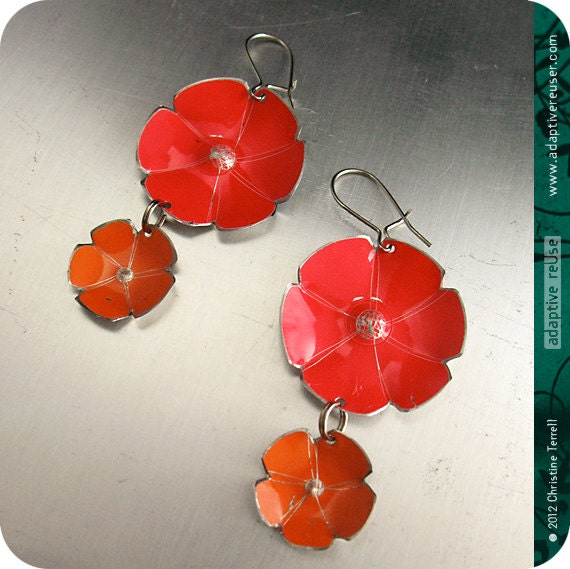Double Flower Dangles  --  Upcycled Tin Earrings -- You Choose the Colors