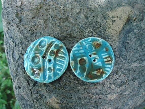 2 Blue Lotus Stoneware Buttons