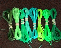 Lot of Rexlace boondoggle plastic lace gimp in GREEN colors 80 yards total