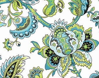 Ainsley Lime Twist Paisley on White Fabric 1 Yard