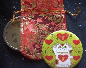 Maneki Neko I Heart Being Lucky Cat in Lime Pocket Mirror