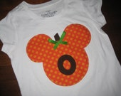 Pumpkin Mouse.... Custom Mickey/Minnie Ears Tee Shirt w/ Your Child's Initial....Cute For Boys and Girls