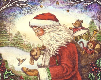 Father Christmas Santa Claus with chickadee giclee print