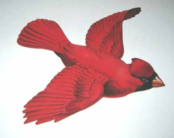 Vintage Die Cut Cardboard Red Cardinal Bird Decoration by Dennison SantasSongbird