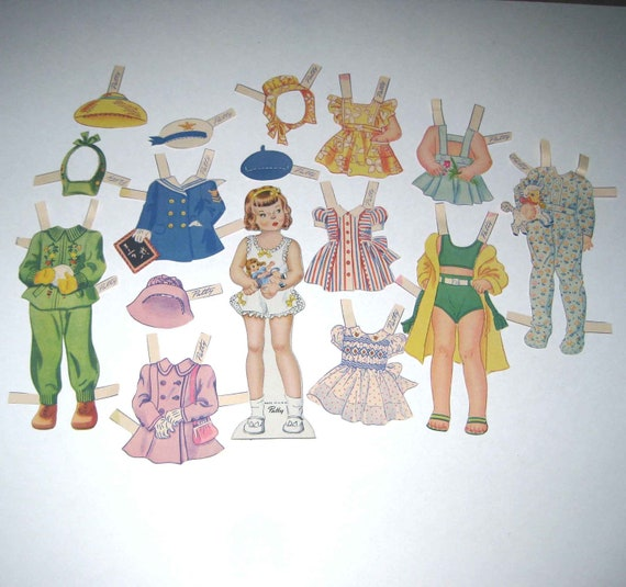 Vintage 1940s or 1950s Little Girl Paper Doll and Clothing
