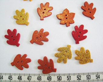 30pcs of  Glittering Autumn Leaf Button