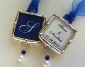 Bridal Party Wedding Bouquet Charm Soldered Glass Monogram Pendant Personalized