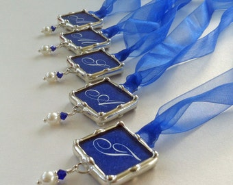 Set Of 5 Bridal Party Wedding Bouquet Charms, Soldered Glass, Monogram Pendant, Personalized, Something Blue Bridal Charms
