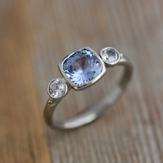 Periwinkle Blue Spinel,14k Palladium White Gold White Sapphire Ring, One of A Kind, Spectacular Spinel