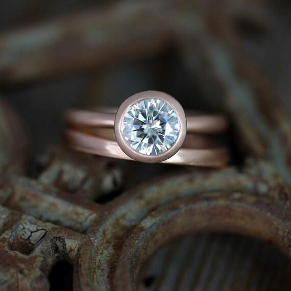 READY To Ship Size 8, 7mm Moissanite Engagement Ring, Modern Satellite Ring Design, Diamond Alternative in Recycled 14k Rose  Gold
