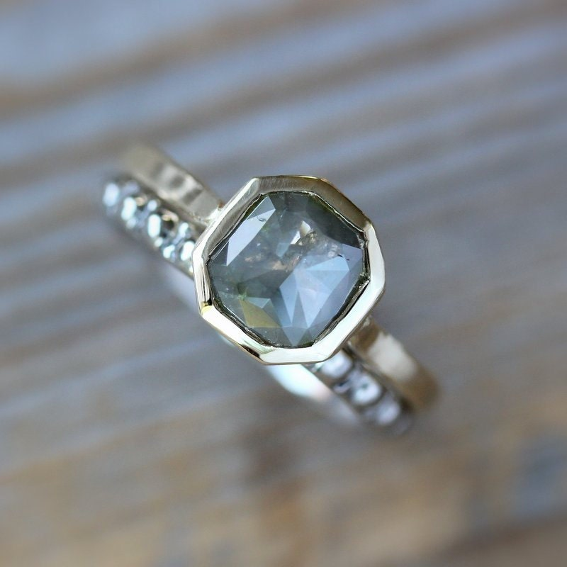 Rose Cut Grey Diamond Gold Engagement Ring by onegarnetgirl