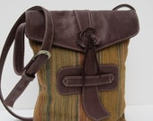 Handmade LEATHER and Fabric Shoulder Pouch-Purse-Messenger-Pocketbook-Sophisticatedly Casual by bizmo