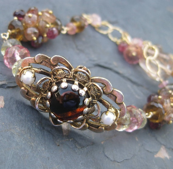 Andalusite and pink tourmaline bracelet with vintage brooch in 14k gold fill - gemstone jewelry - autumn harvest
