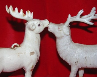 Vintage 1960's Kissing Christmas Reindeer, Plastic  Santa Claus classic  Deer, Antlers, retro 60's X-mas Decorations Holiday collectible