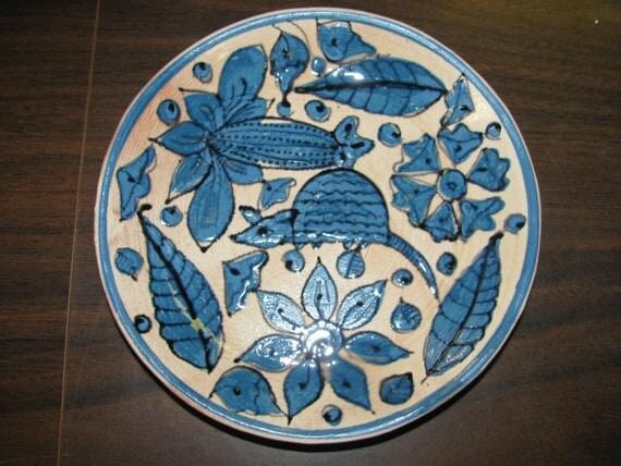 Southwestern Blue & White Plate, Terracotta, Armadillo, Tex Mex