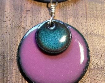 Blue and Aubergine Purple Copper Enamel necklace Handmade enamel pendant with cord