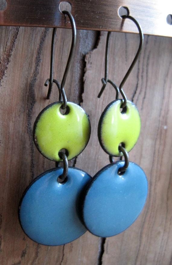 Yellow and blue enamel earrings copper nickel free kidney earwire