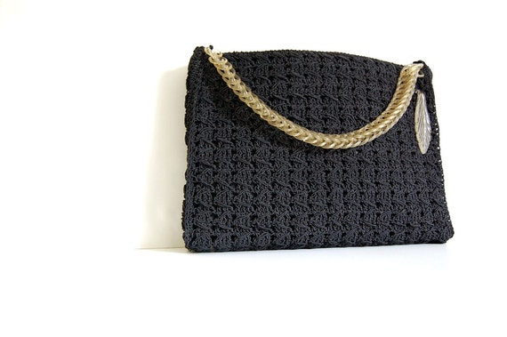1960s Handbag / Vintage Handbag / Black Handbag / Lucite Handle