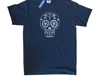 Hand Press Silk Screen Sugar Skull day of the dead Blue T Shirts UNISEX