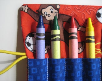 Crayon Roll Curious George Includes 8 Crayons Monkey Sports Theme