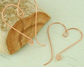 Copper Heart Hoops with a Swirl