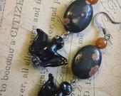 Batiria- Jasper and Bat earrings