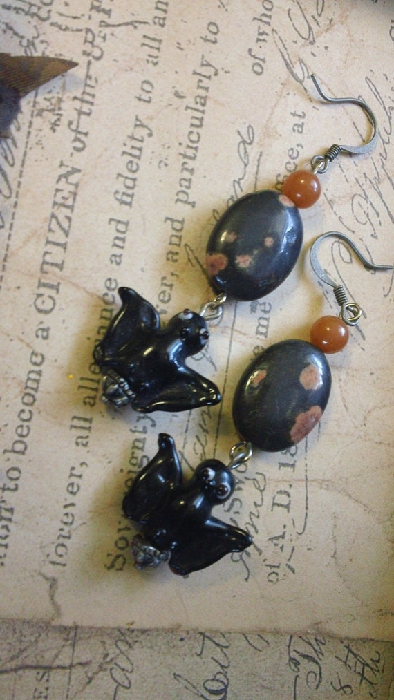 Batiria- Jasper and Bat earrings