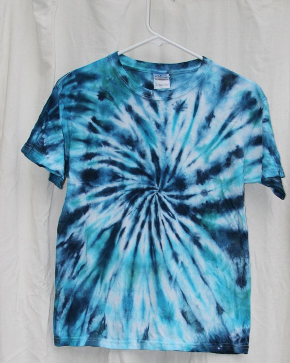 Tie Dye Shirt -Youth Large- Short Sleeve - Swirl - Turquiose and Blue