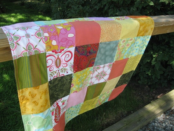 MARKED DOWN - Scrappy Quilt - orange yellow green - backed with yellow fleece - soft and cuddly