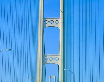 Mackinac Bridge, Michigan Decor, Bridge Photography, Wall Decor, Blue and Silver, Man Cave, Fine Art Print, Travel Photo, Michigan Artwork