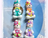 Easter Dress Up Bunny Polymer Clay Charm Bead Scrapbooking Embelishment Bow Center Pendant Cupcake Topper