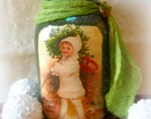 Primitive Christmas girl luminary folk art vintage postcard look yule candle jar tea light luminary FAAP