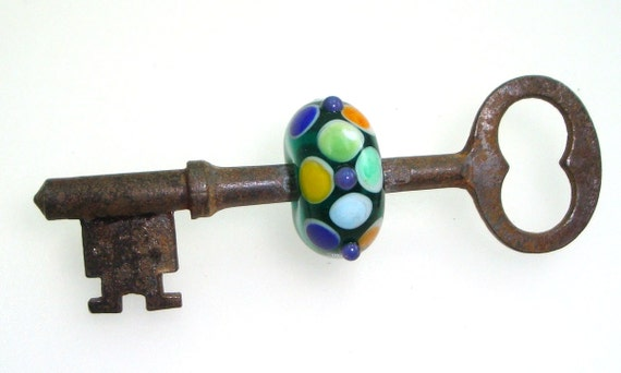 Handmade Lampwork Skeleton Key Bead Dots Teal Aqua Blue Green Orange Yellow Antique Steampunk Lamp Work Glass Dots -- Come What May