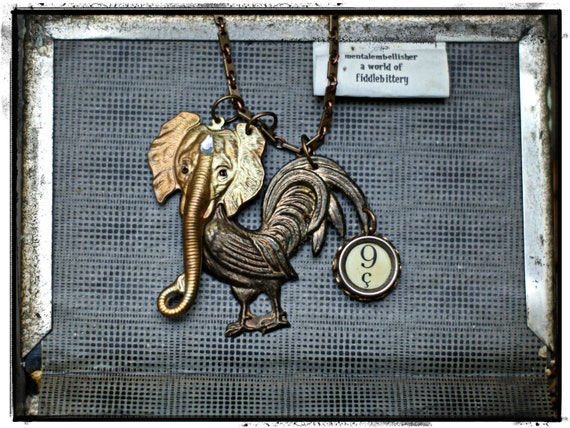 Vintage French Typewriter Key Rooster Elephant Necklace
