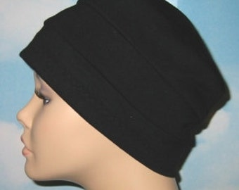 3-Band Black  Chemo Hat, Hijab, Alopecia Cap Cancer Cap Yoga Hat