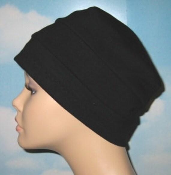3-Band Black  Chemo Hat, Hijab, Alopecia Cap Cancer Cap Yoga Hat