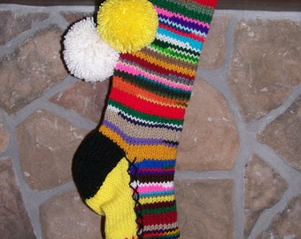 Old Fashioned Hand Knit Multi Color Rag Series Christmas Stocking with Red and Green Flowers on Bright Yellow
