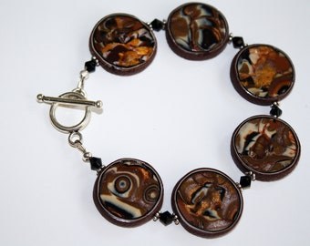 Brown and Black Mokume Gane Bracelet