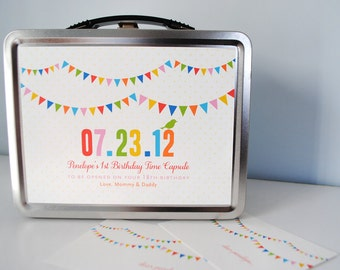 Time Capsule, baby keepsake, wedding time capsule, custom baby gift, birds, bunting flags, metal lunchbox, personalized