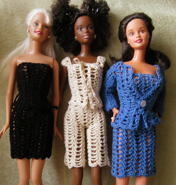 Barbie doll crochet pattern-  Entire wardrobe includes dress, top, sweater, pants, shorts, skirt