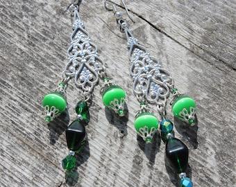 Elegant green chandelier earrings