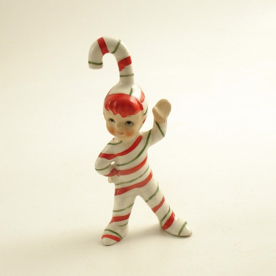 Vintage Candy Cane Pixie Christmas Figurine Geo. Lefton
