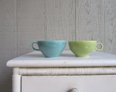 Lot of 2 Vintage Mid Century TEA CUPS Chartreuse Green and Turquoise Blue USA Pottery