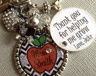 Teacher Gift PERSONALIZED Name Apple, Chevron, Thank You gift, Teacher Appreciation, Day Care, Thank You helping me grow