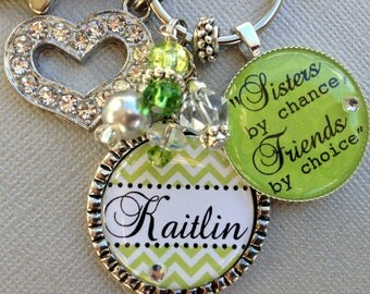 Personalized sister gift CHEVRON keychain- Big Sister, Little Sister, Sisters by chance, friends by choice, birthday gift