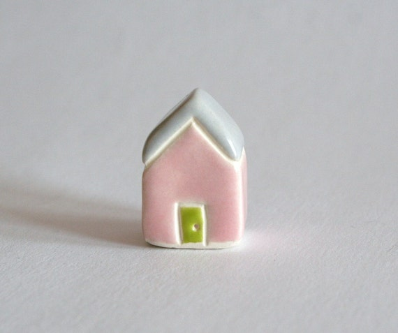 Tiny Cottage Pink gray grey lime green miniature little clay house collectible terrarium decor