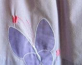 Vintage Seersucker Butterfly Appliqué Skirt - Purple and White with Purple Butterfly
