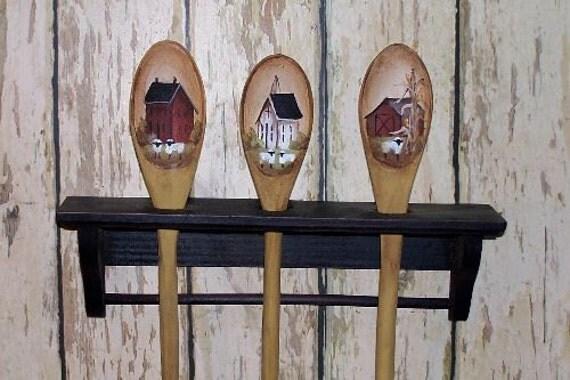 Painted Spoons and Rack Primitive Folk Art Saltbox OFG